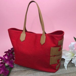 Tory Burch Canvas Stacked T East West Red Tote